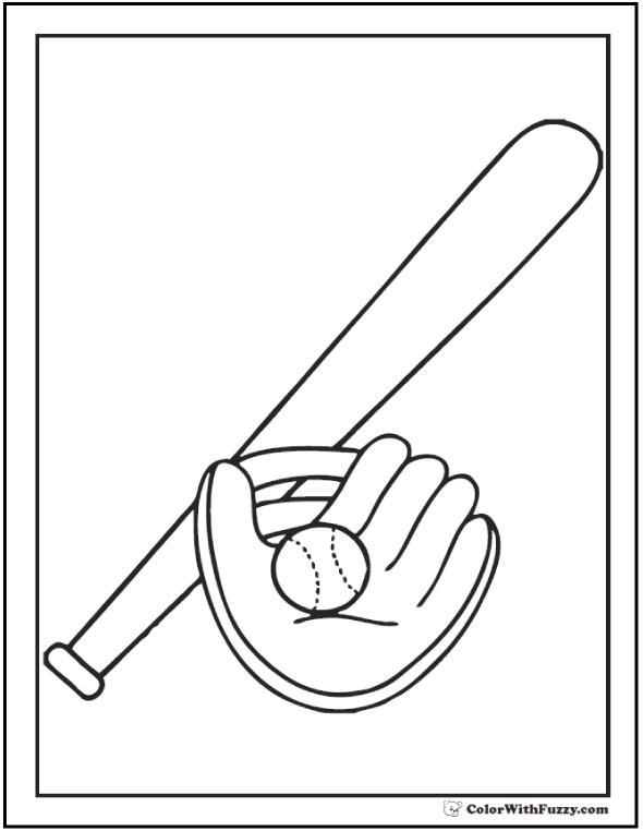 PDF Ball Bat Glove Coloring