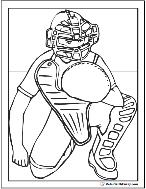 Baseball Catcher Coloring Printable