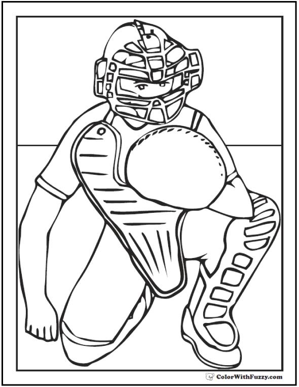 Baseball Catcher Coloring Printable