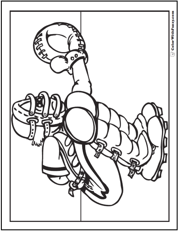 Baseball Catcher Coloring Sheet