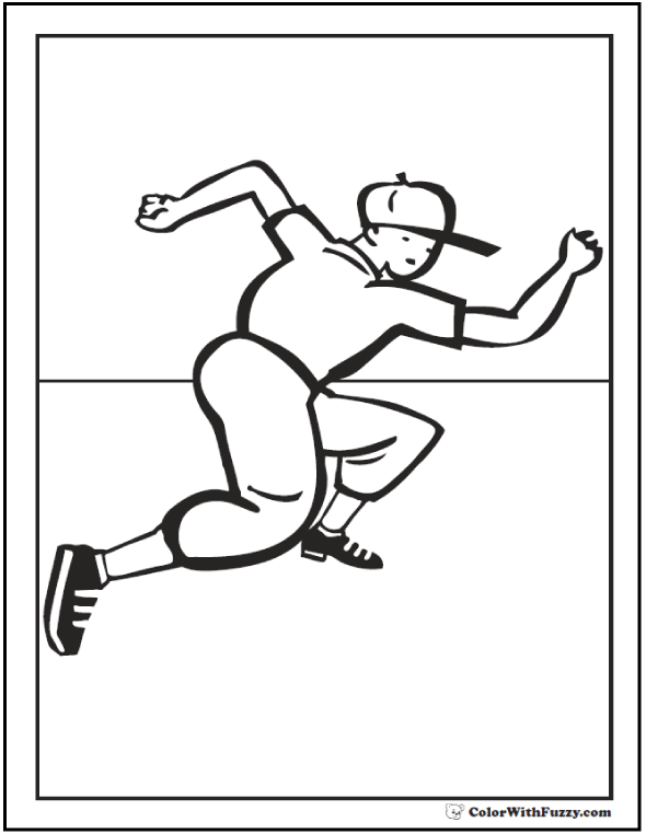 Base Runner Baseball Coloring Page For Kids