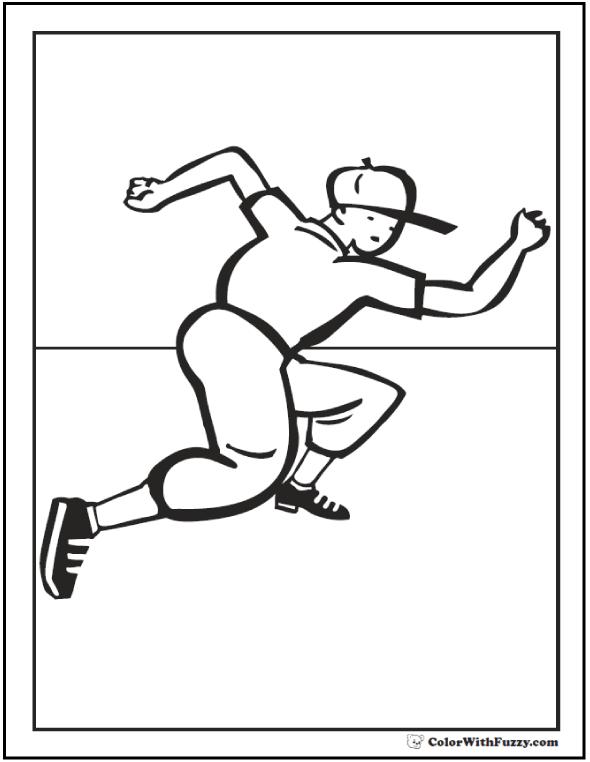 Base Runner Baseball Coloring Page For Kids