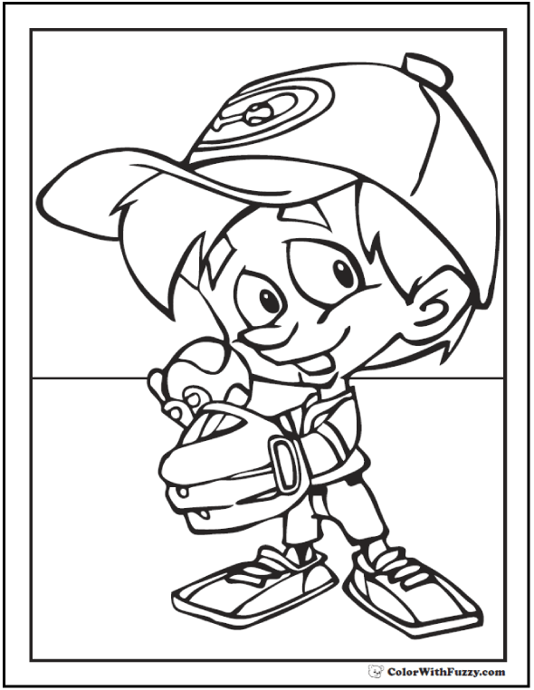 Baseball Coloring Pages For Kids: Pitcher In Cap