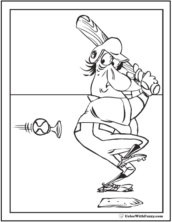 honking fast baseball printable coloring page