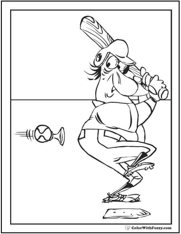 Honking Fast Baseball Printable Coloring Page