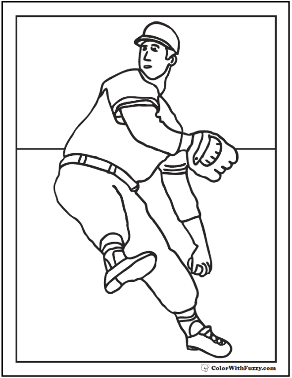 Baseball coloring pages customize and print pdf for Pitcher coloring pages