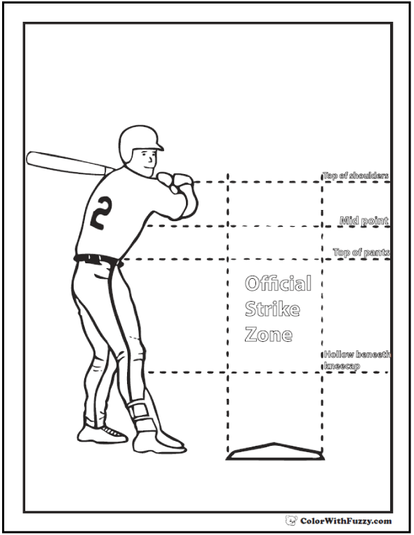Baseball Posture Coloring Worksheet