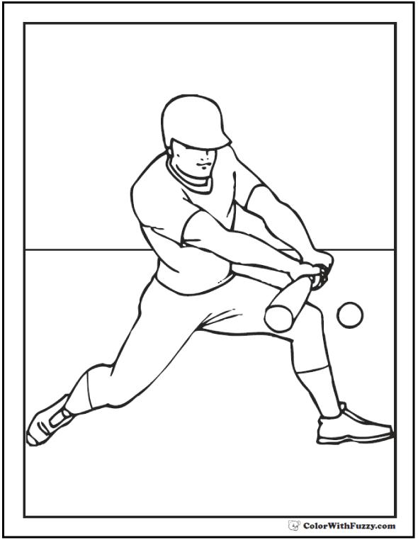 Bunt And Run Baseball Coloring