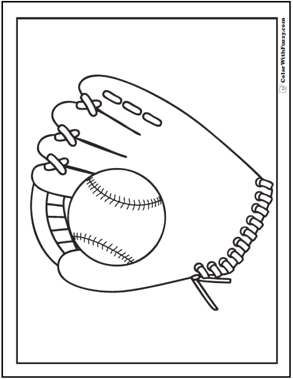 Ball And Baseball Glove Coloring Picture