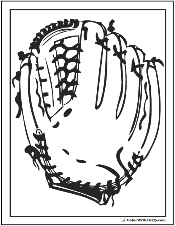 Baseball Glove Coloring Printable