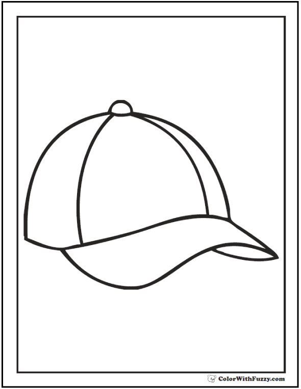 Baseball Hat Coloring Picture