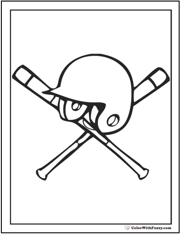 Baseball Helmet And Bats Coloring Picture