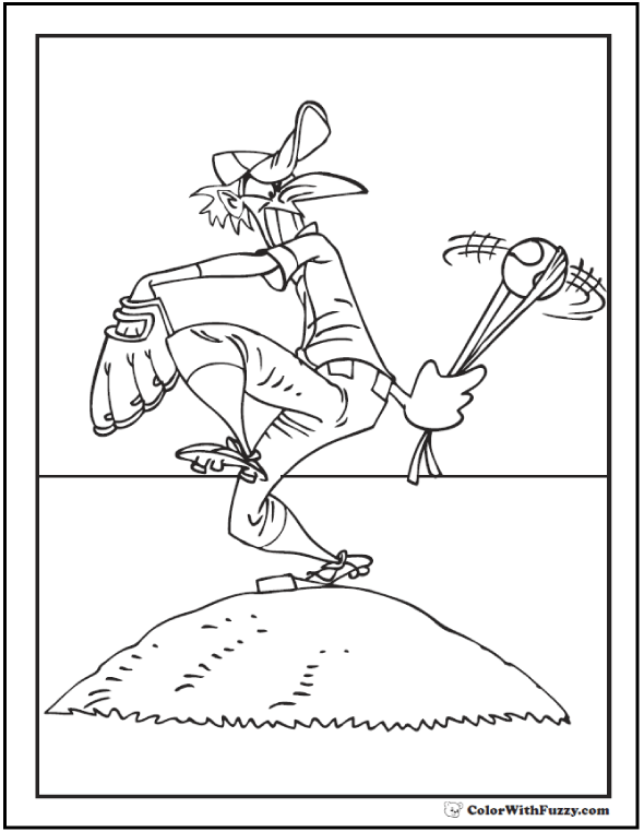Sling Shot Baseball Pitcher On The Mound For Coloring