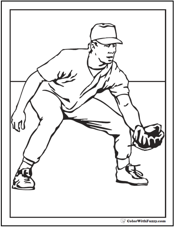 Outfield Baseball Player Coloring Sheet
