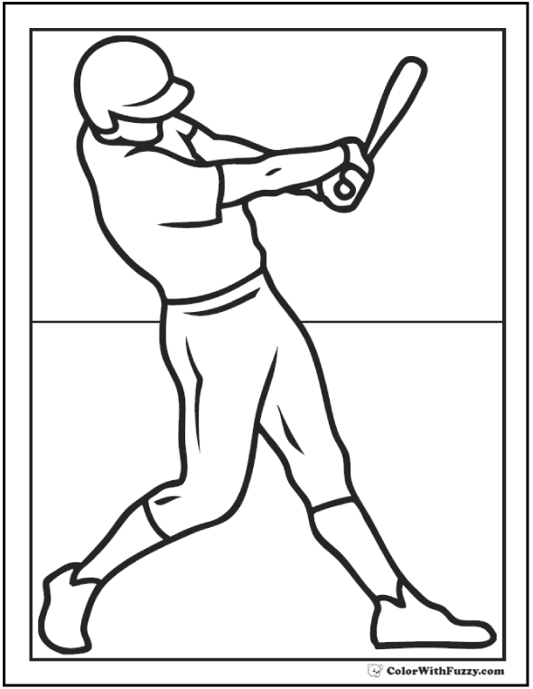 Batting Baseball Player Coloring