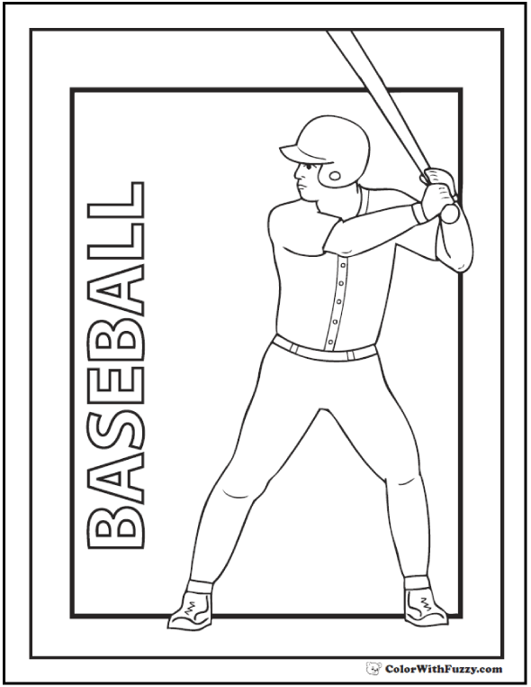 Batter Baseball Poster To Color