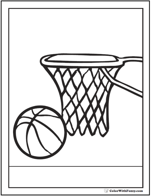 basketball coloring picture ball and net