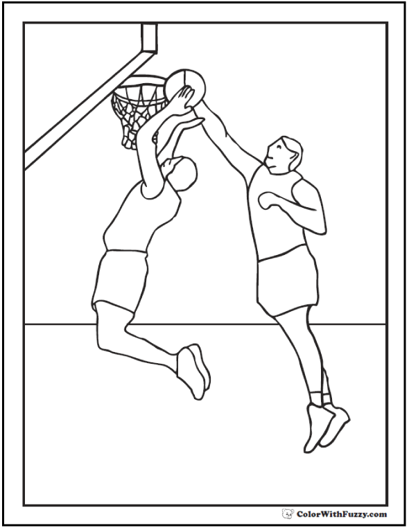 basketball coloring sheet basketball players