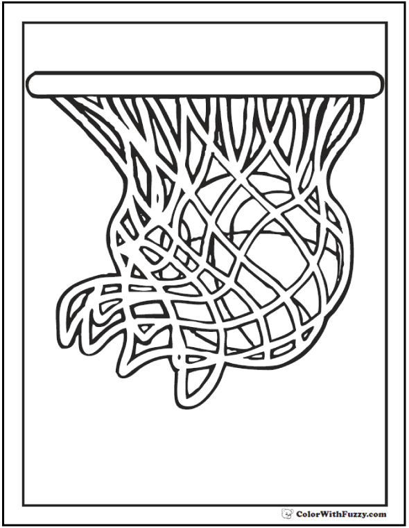 Basketball Hoop Coloring Page: Ball In The Net, Shoot For Two!