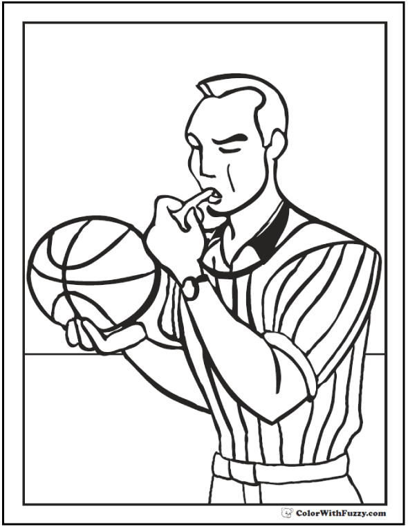 Basketball Referee Coloring Page