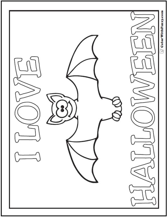 I Love Halloween Bat Coloring Sheet