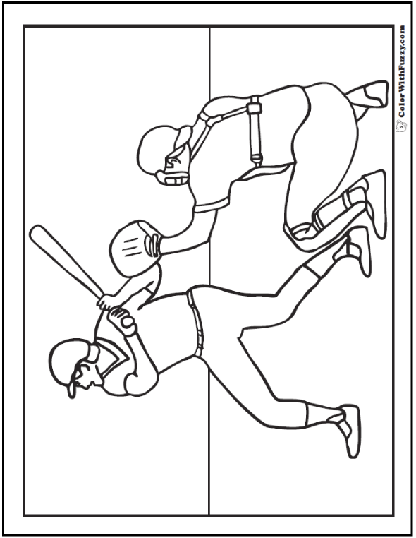 Batter And Catcher At Home Plate Coloring Picture