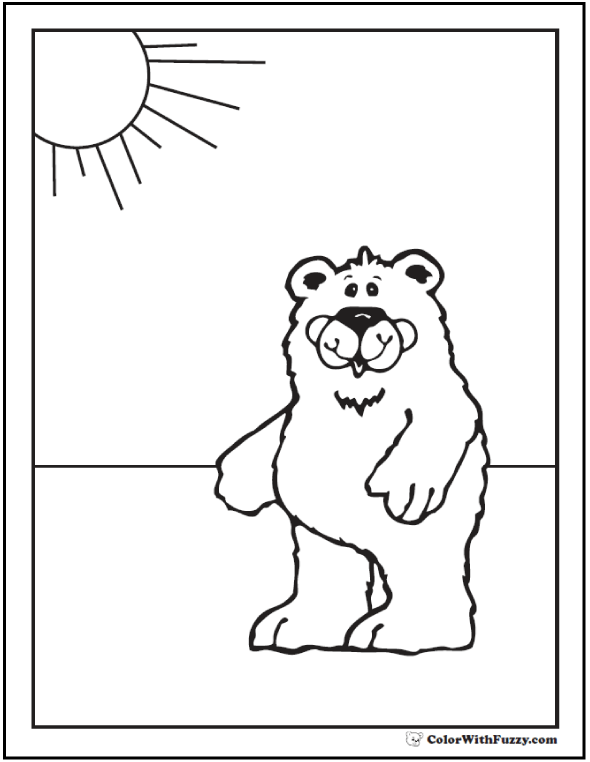 Bear Coloring Page: Sunshine in background.