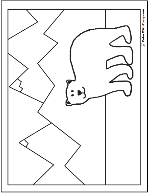 Bear Coloring Picture: Mountainous Background.