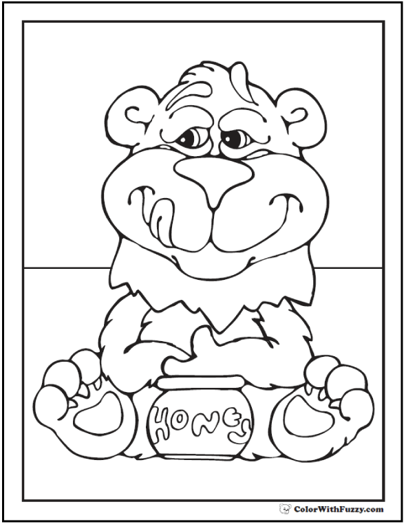 Honey Bear Coloring Sheet: Caught with the goods!