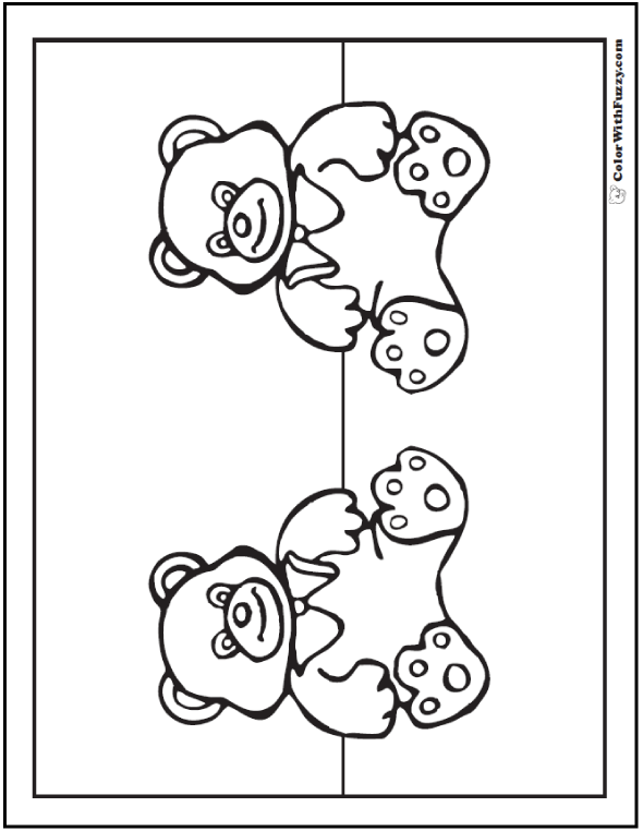 Twin Bear Coloring Theme: Pair the bears!