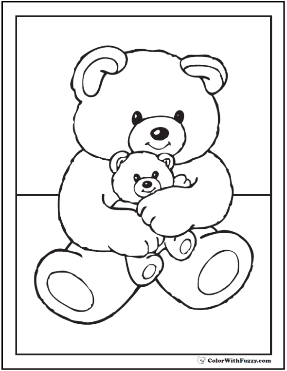 Bears Birthday Coloring Page - Momma Bear and Baby Bear
