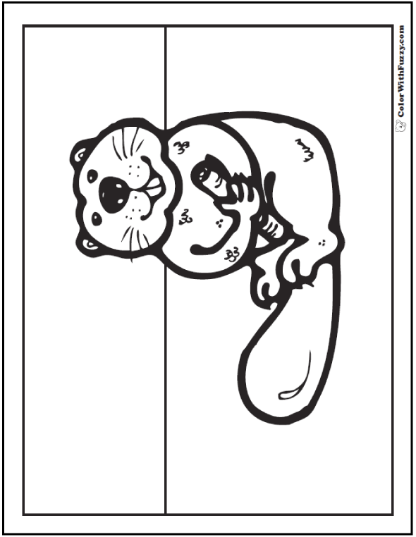 Cute beaver coloring picture