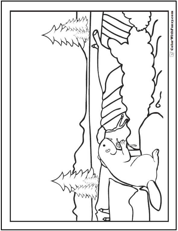 Realistic Beaver Coloring Pages