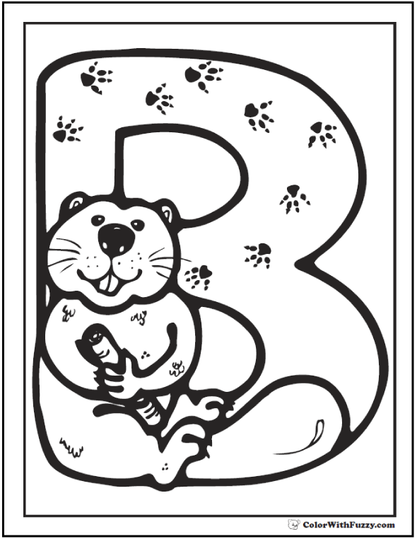 Beaver Coloring Sheets: Be is for beaver coloring page.