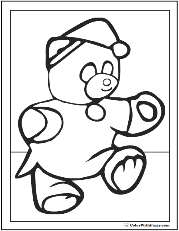 Bed Time Teddy Bear Picture To Color