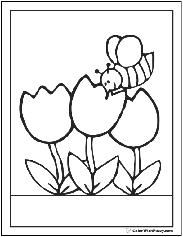 Bee coloring page with tulips.