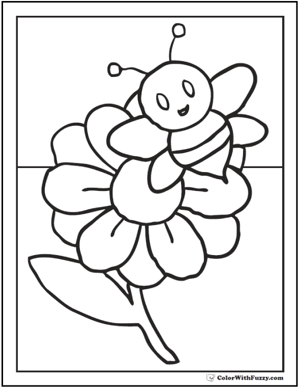 Bumblebee coloring page with flower.