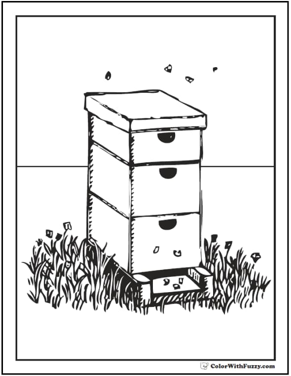 Busy bee hive coloring page with hive and flowers.