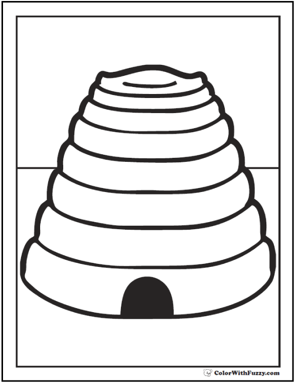 Natural bee hive coloring page.