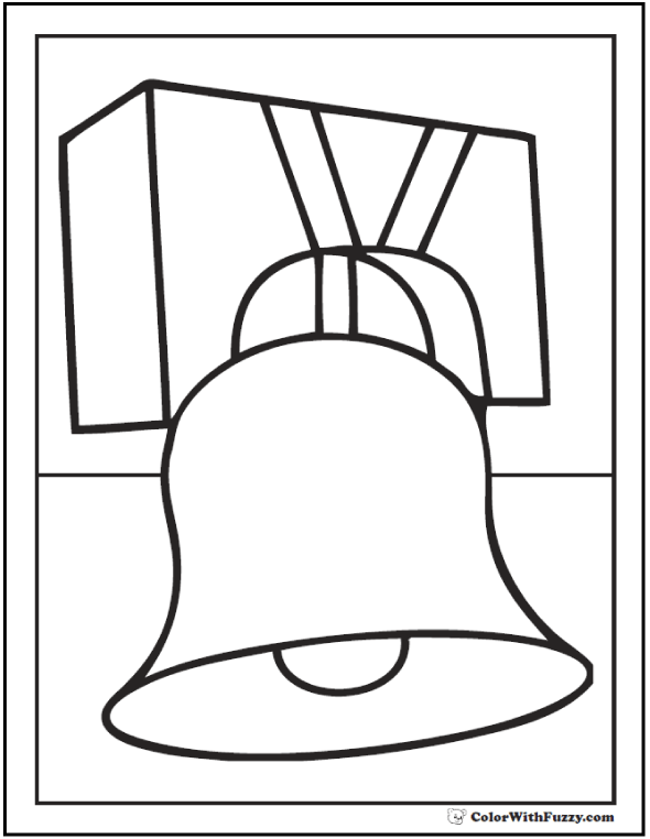 Independence bell Fourth of July coloring page.