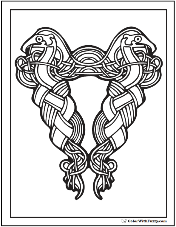 ColorWithFuzzy.com Celtic Coloring Pages: Braided Bird Celtic Coloring Page
