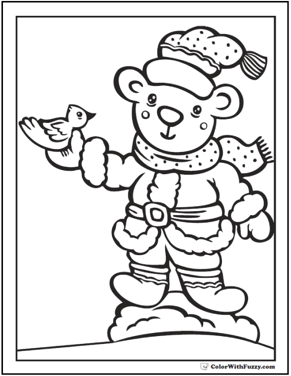 Teddy Bear With A Bird In His Hand Printable