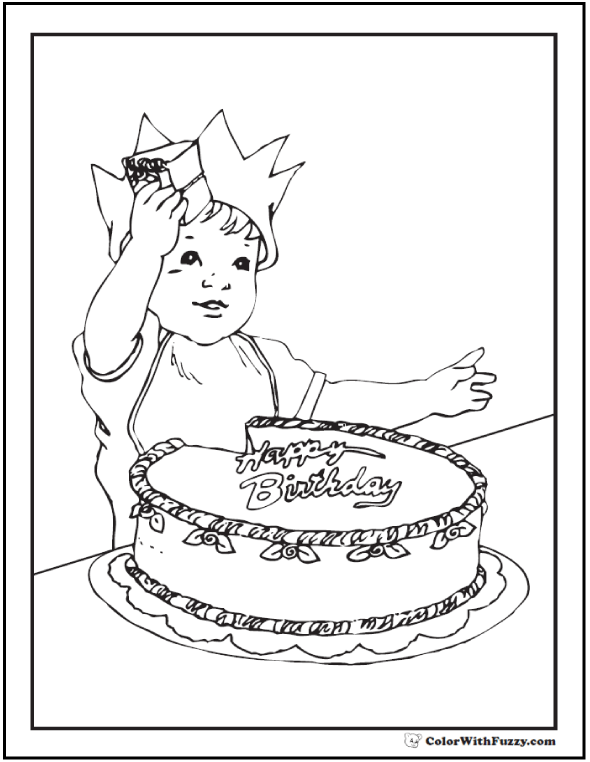 Baby's First Birthday Cake Coloring Sheet