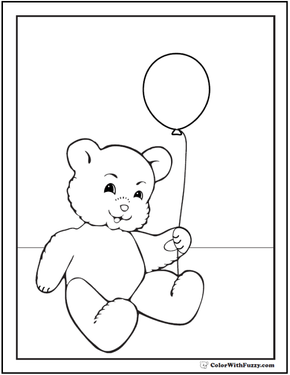 Fuzzy's Birthday Balloon Coloring