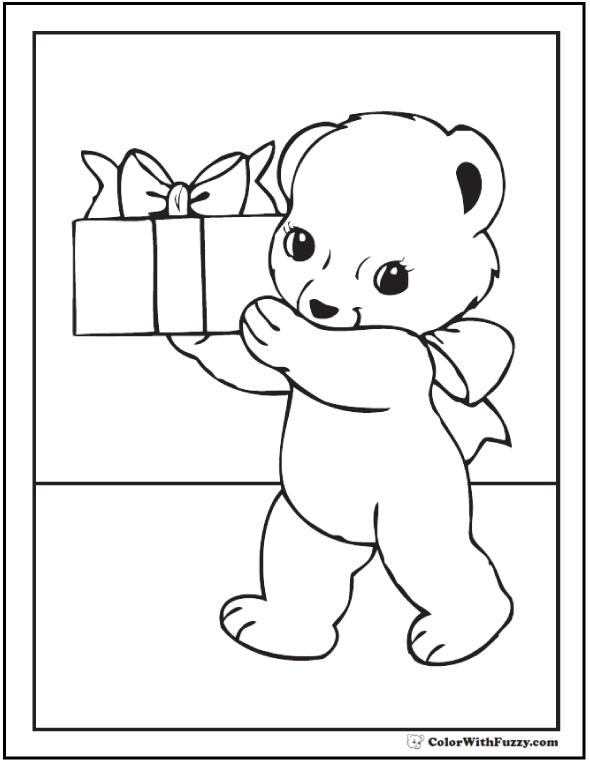 Birthday Bear Coloring Printable