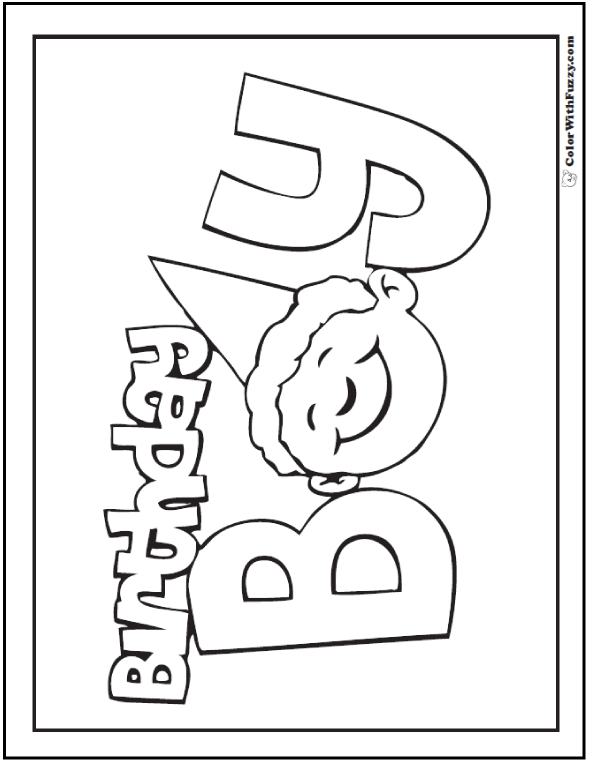 Birthday Boy Coloring Page Happy Pages