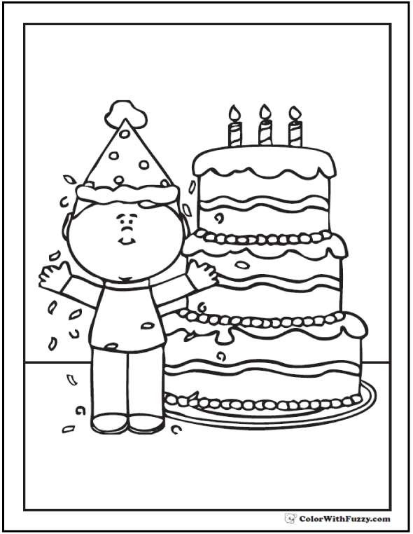 Coloring Page of Birthday Boy With Cake