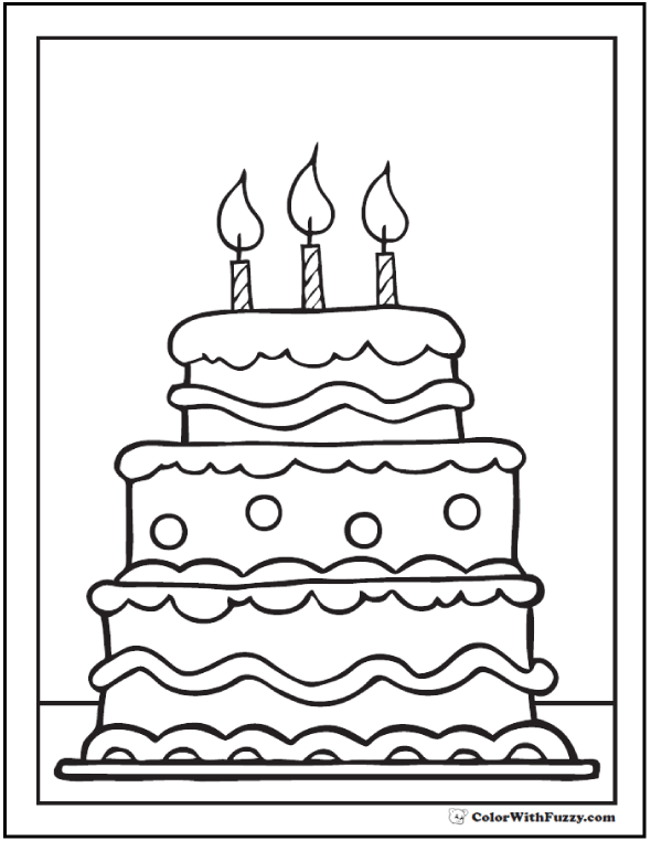 3rd Birthday Cake Coloring Printable Tiered Pages With 3 Candles