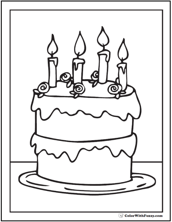 Roses And 4 Candles Birthday Cake Coloring Printable
