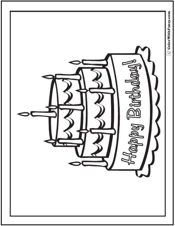 Happy Birthday Cake Coloring Sheet - 8th Birthday, 8 Candles